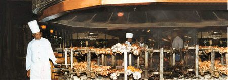 The huge charcoal grill at the Carnivore Restaurant in Nairobi