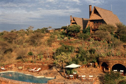 The Loisaba Lodge blends into the Loldaiga Hills offering a great view