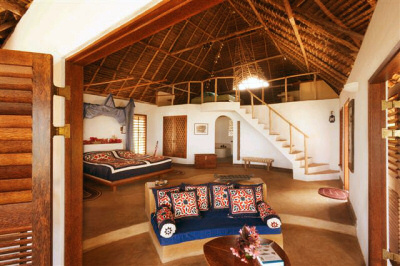Luxurious suite rooms at Matemwe Bungalows on magnificent Zanzibar Island