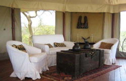 Minimal and fine decor in the spacious tents at the Ol Seki Mara Camp