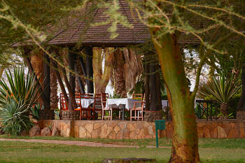 The dining area at the Ol Tukai Lodge in Amboseli National Park