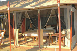 Your bedroom with a stunning view at the Oliver´s Camp