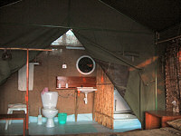 The connected bathroom at the Selous Mbega Camp